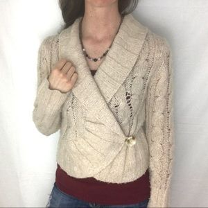 Free people oatmeal knit button cardigan